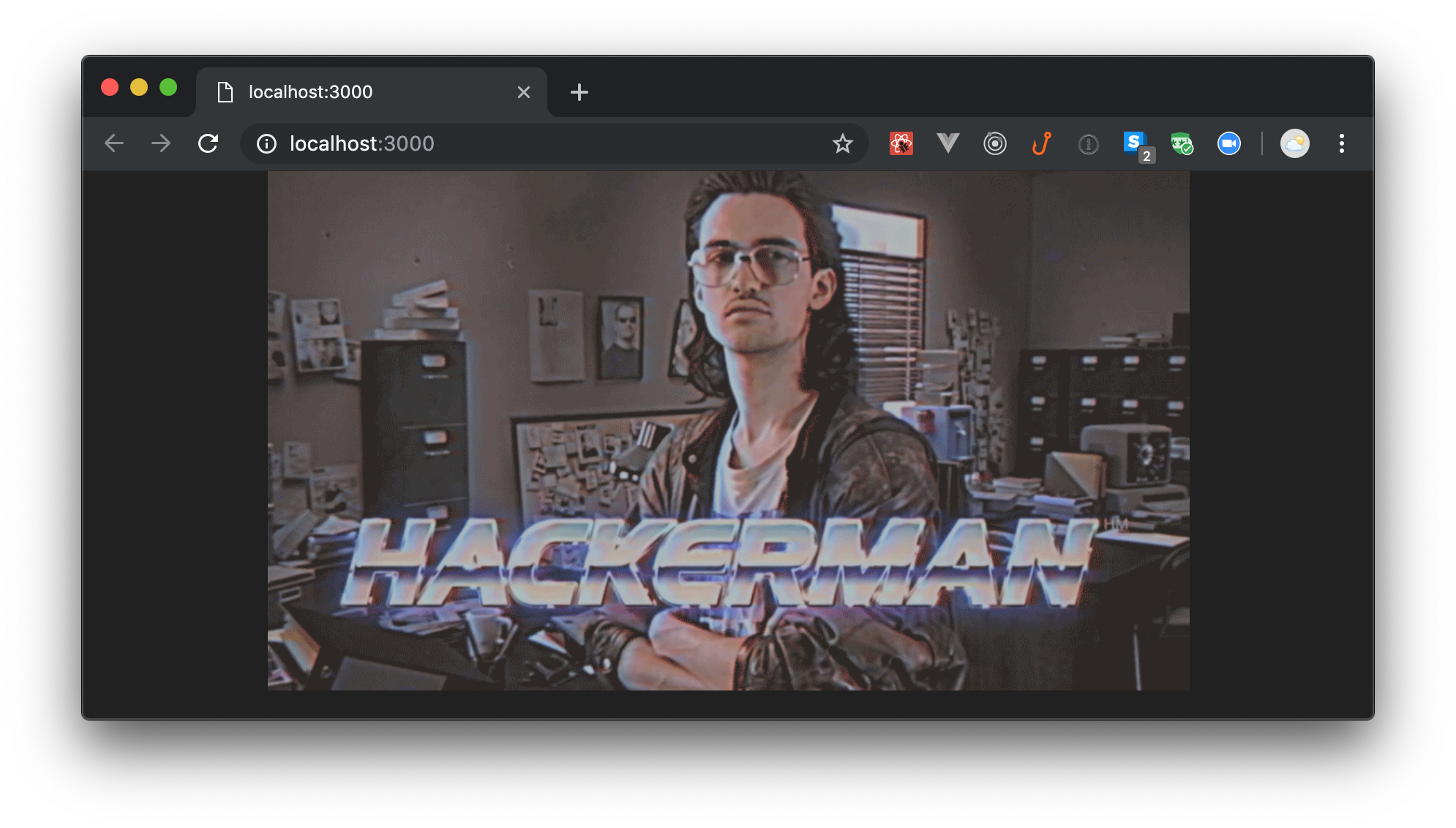 Hackerman image - Scaffolding a Next.js application.