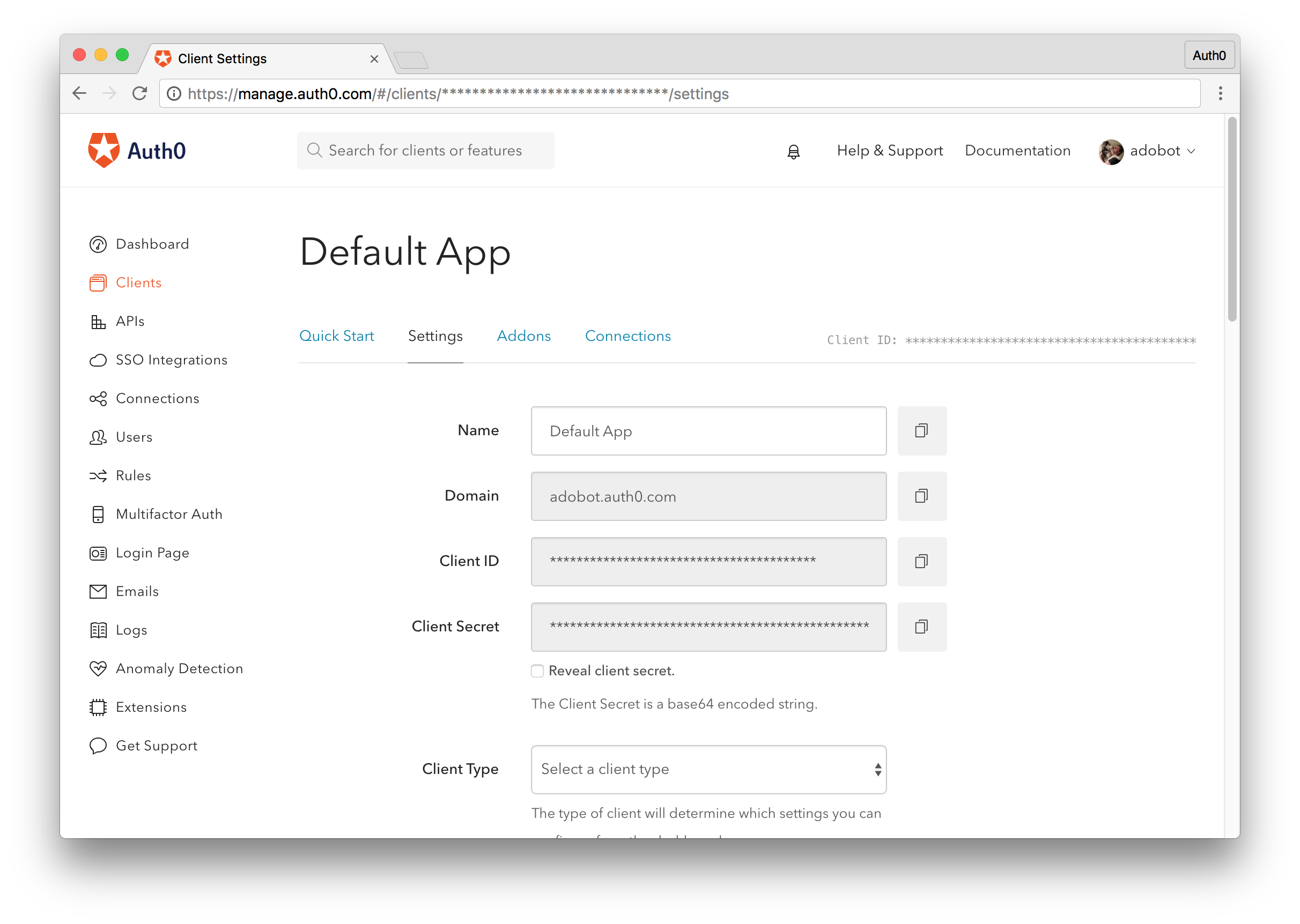 Auth0 Management Dashboard