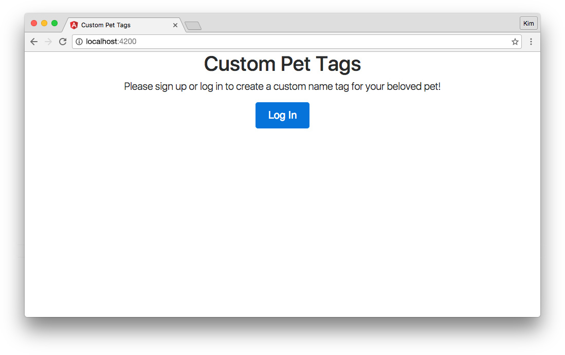 Angular app with login