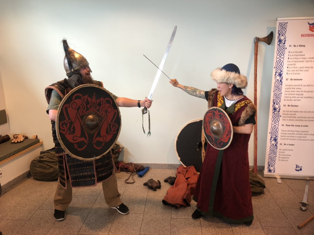 Sam Julien and Kim Maida dressed as vikings at ngVikings conference