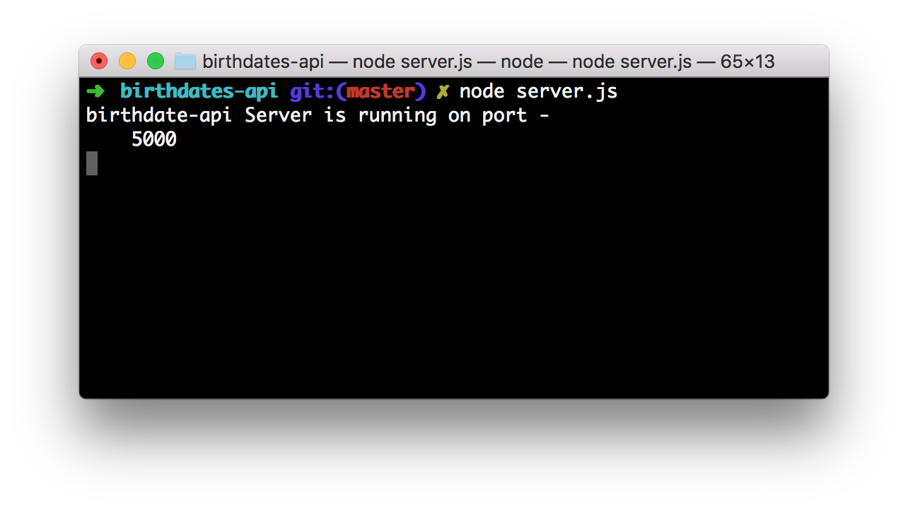 Node.js application running