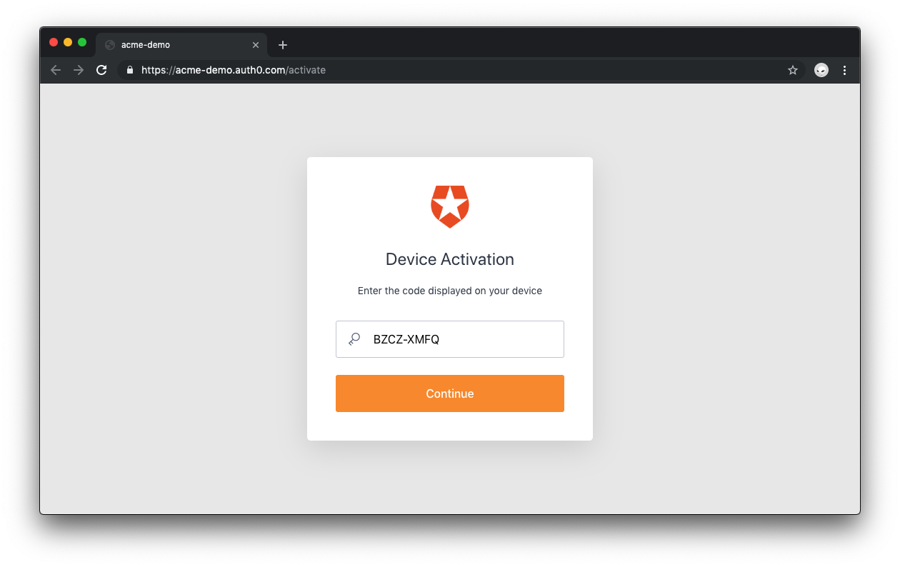Auth0 Device Flow: device activation code