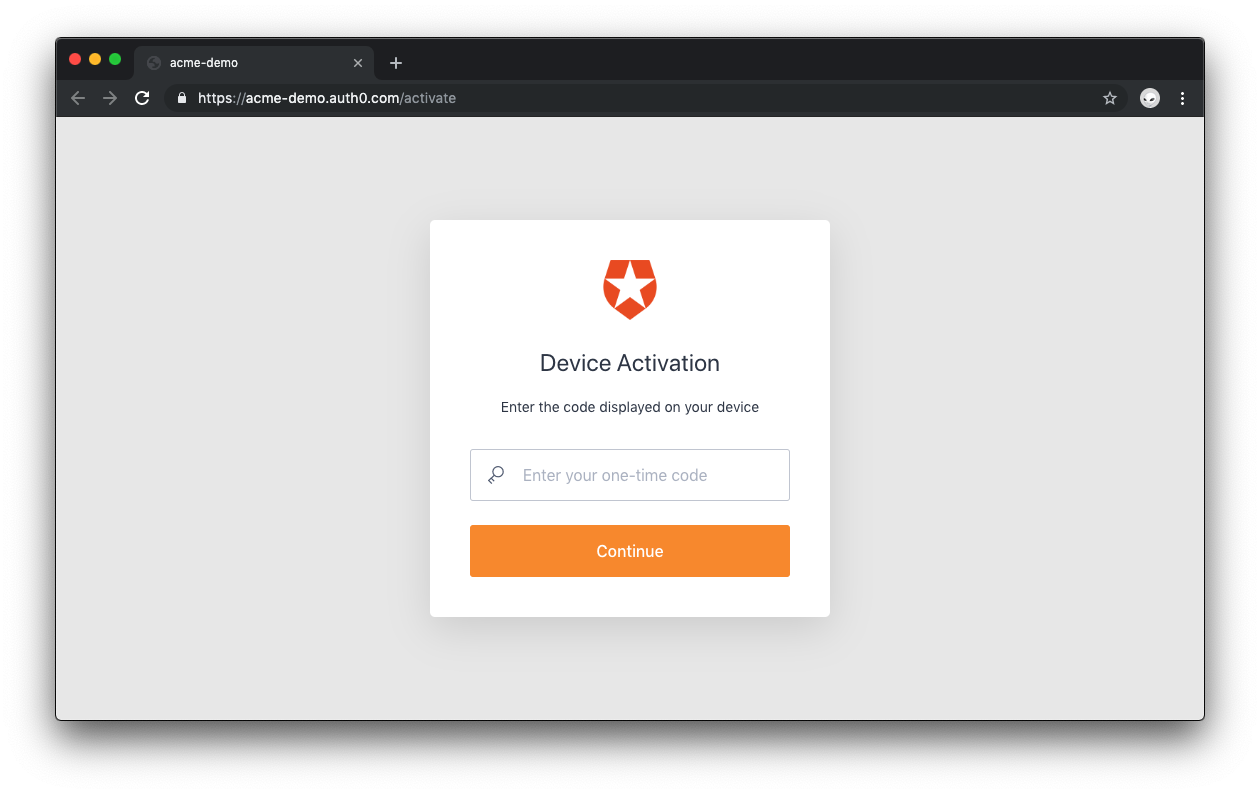 Auth0 Device Flow: device activation