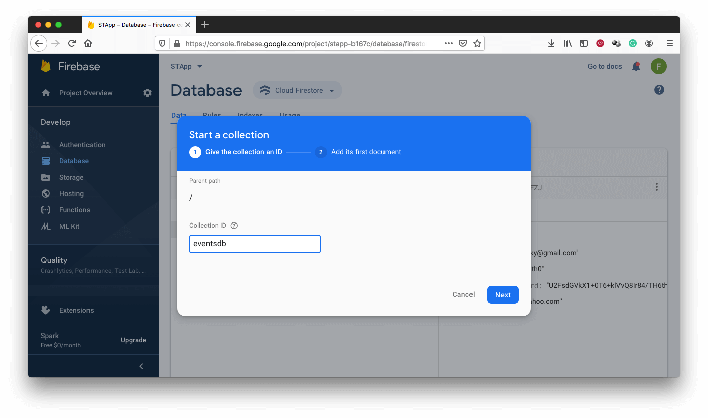Create Collection on the Firebase Console