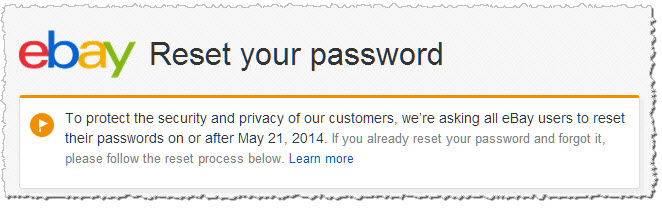 ebay asking users to reset their password