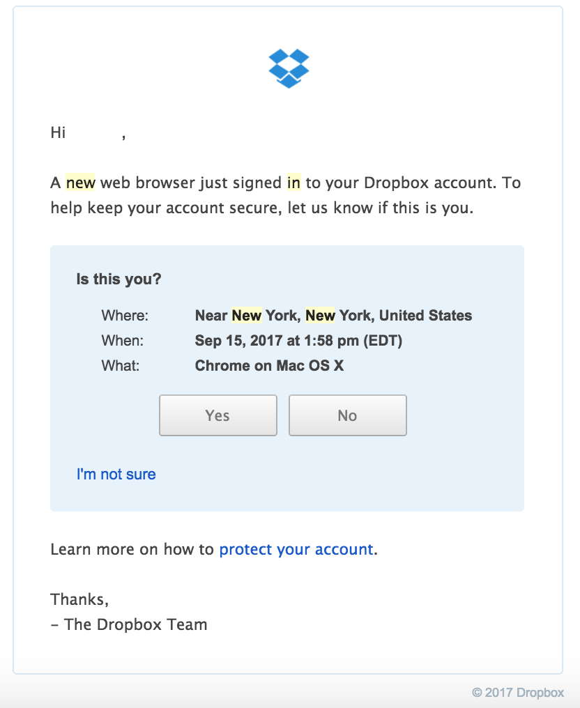 Dropbox Signin Warning