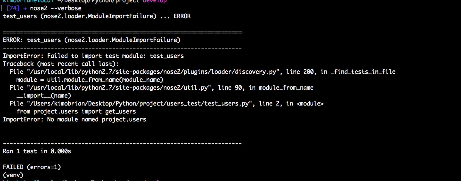 Python failing test