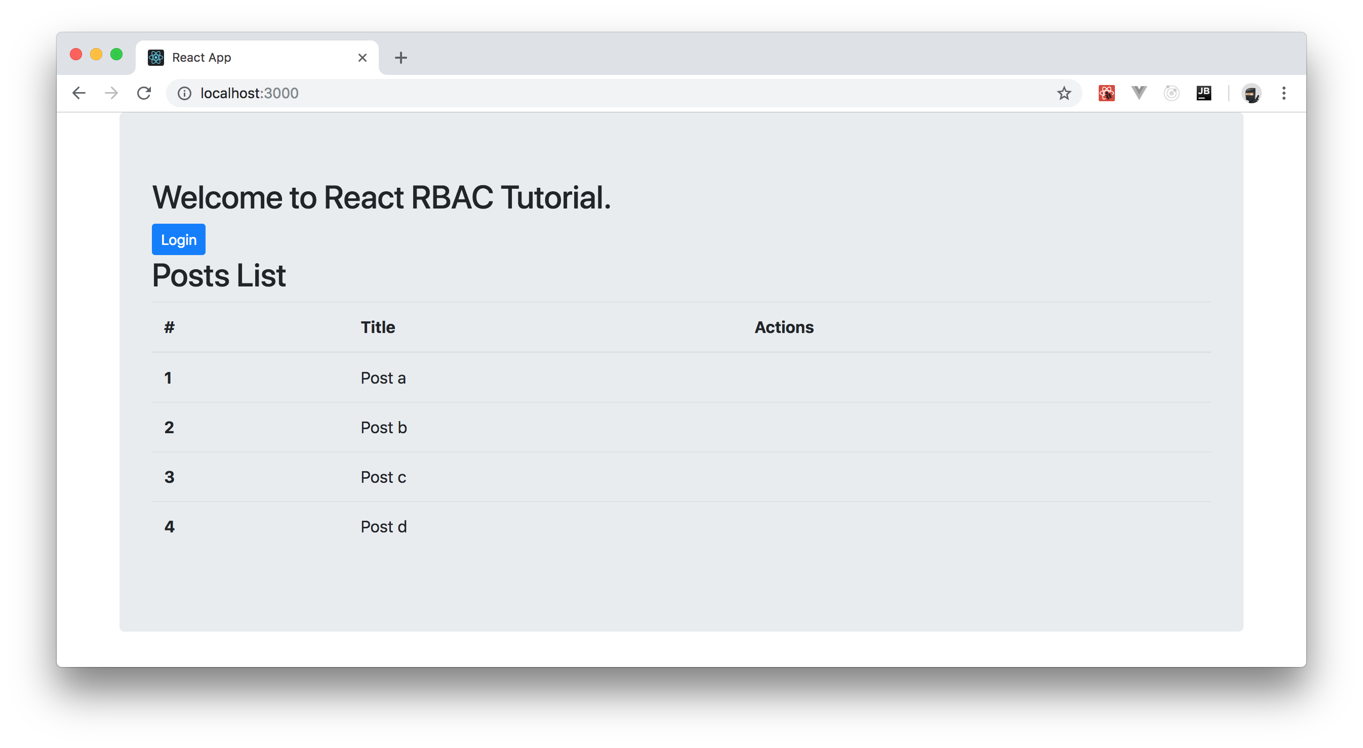 React App running locally, showing unauthenticated user role view