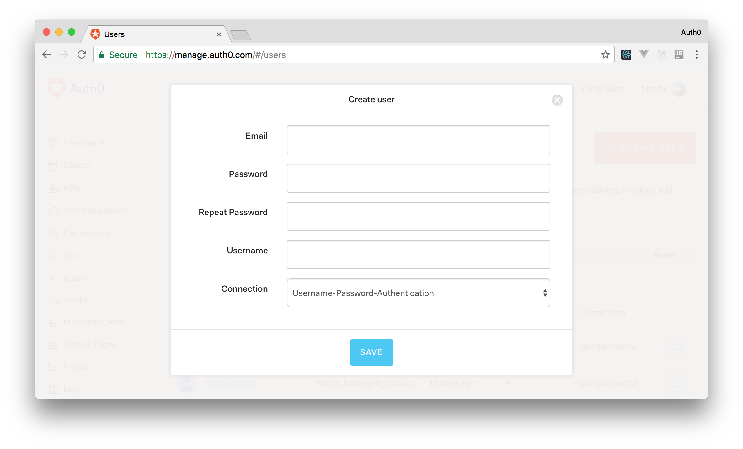 Creating users through the Auth0 management dashboard