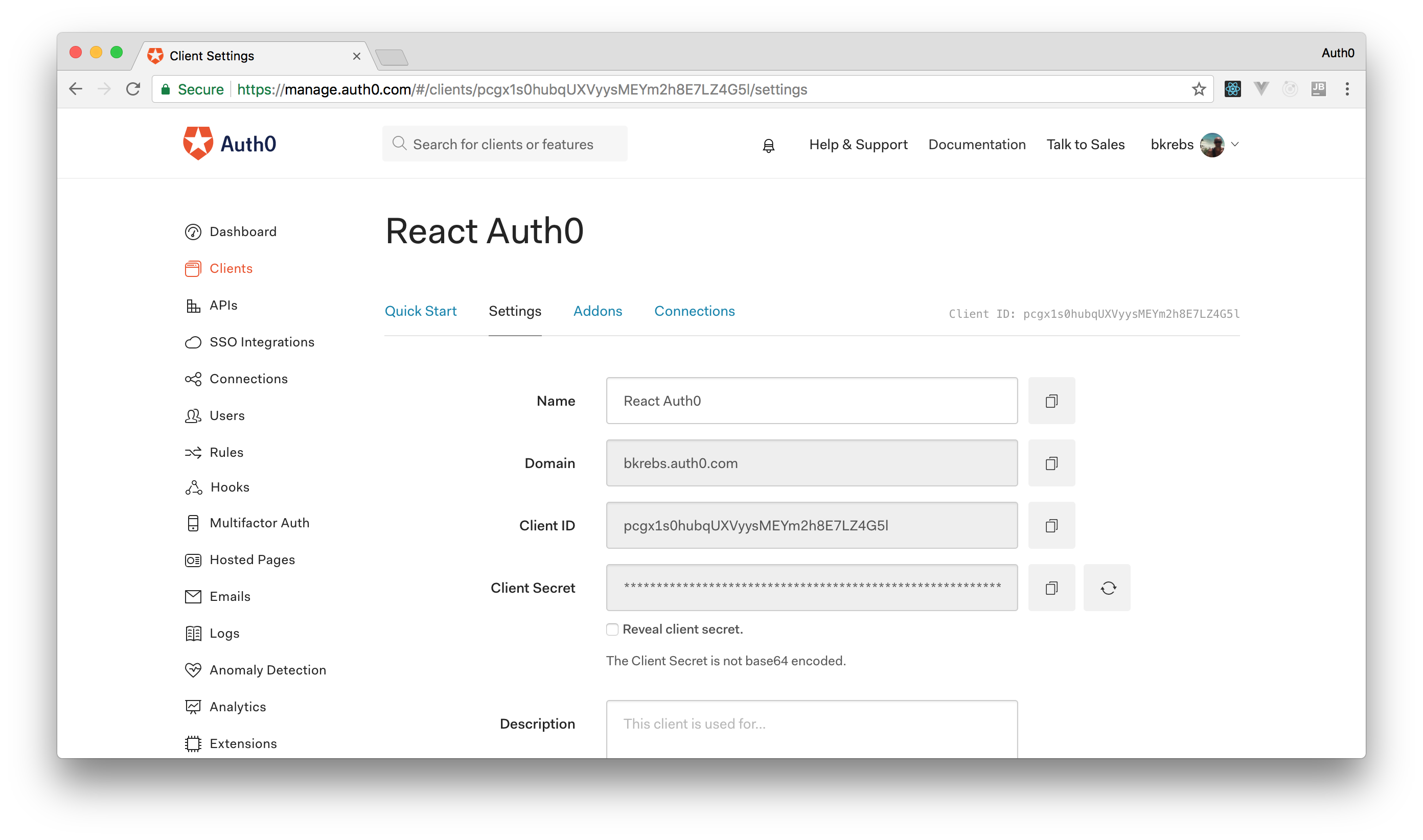 Settings tab of a React application on Auth0