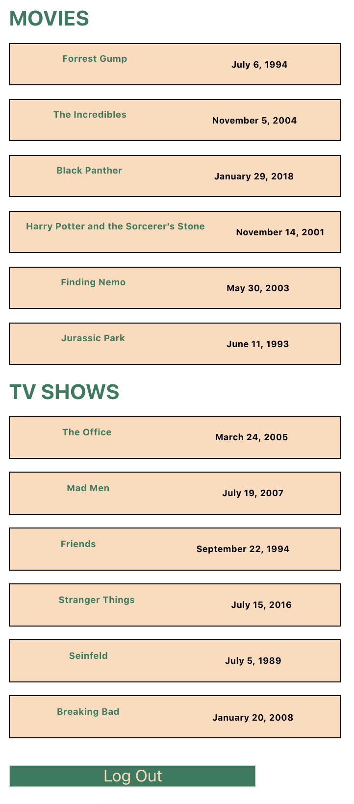 Authenticated view of Tv Shows and Movies