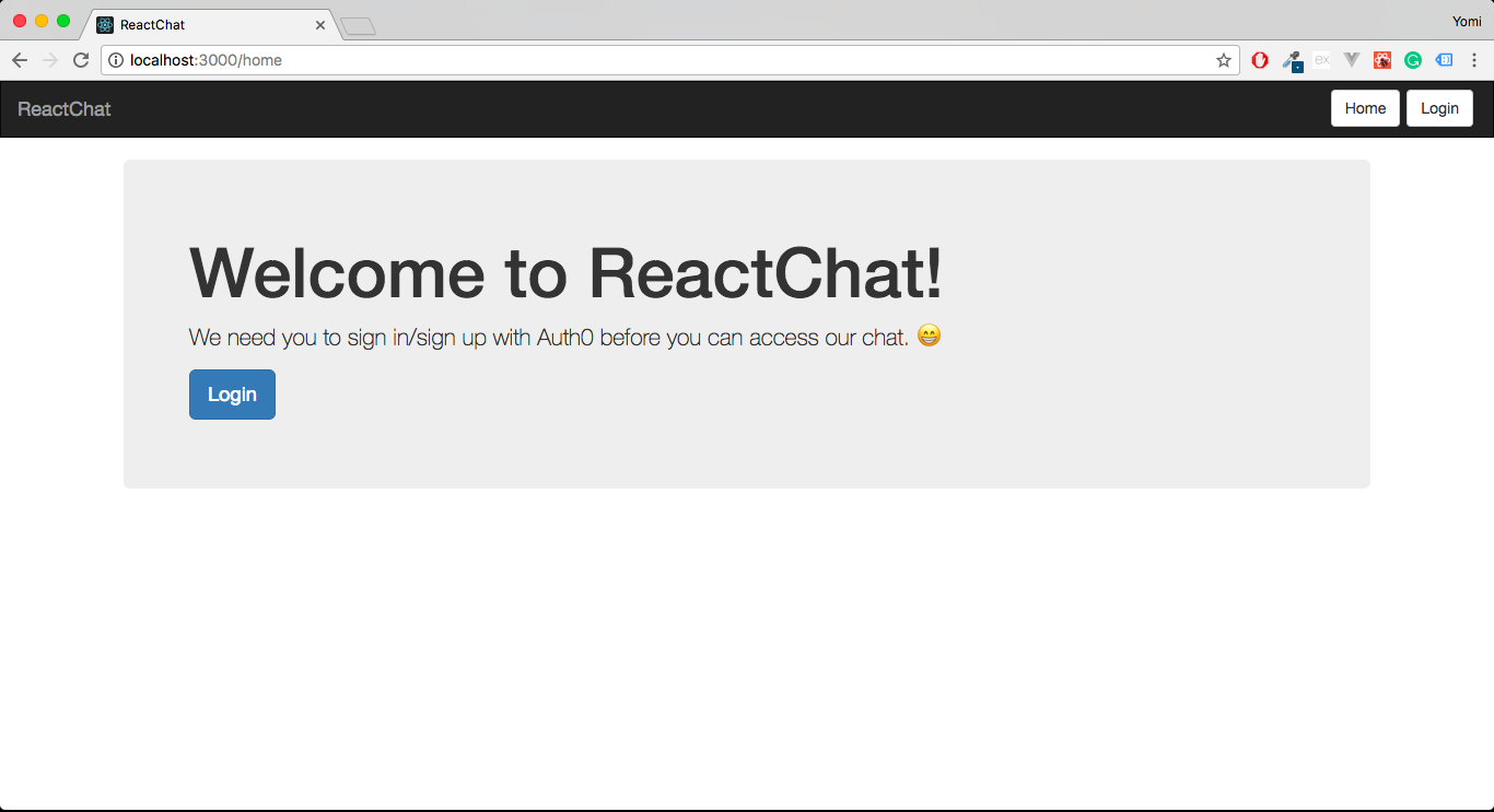 ReactJS & Pusher Chat - welcome screen