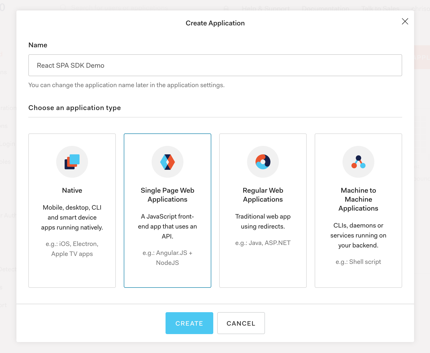 Auth0 Create Application View