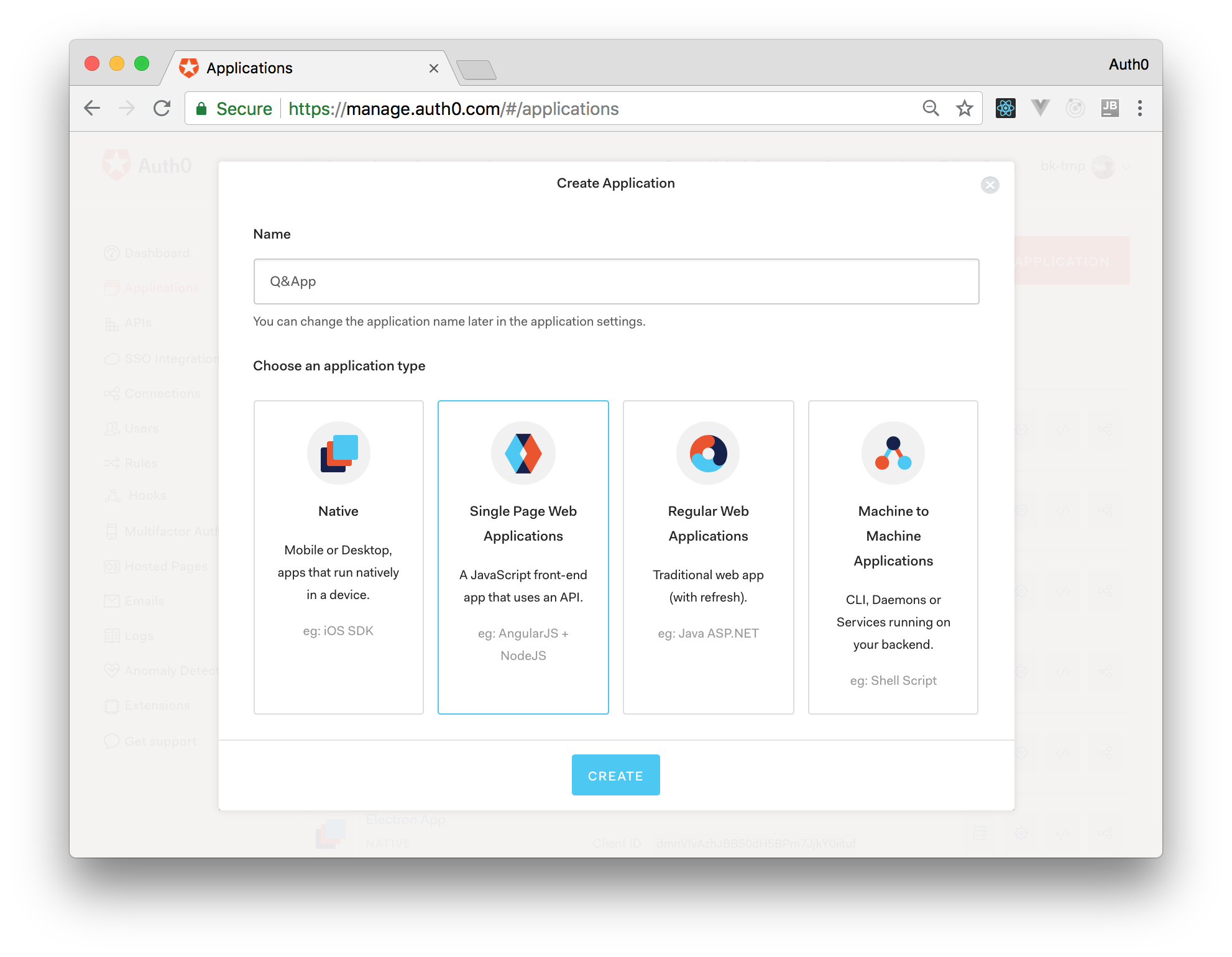Creating a React application on Auth0.