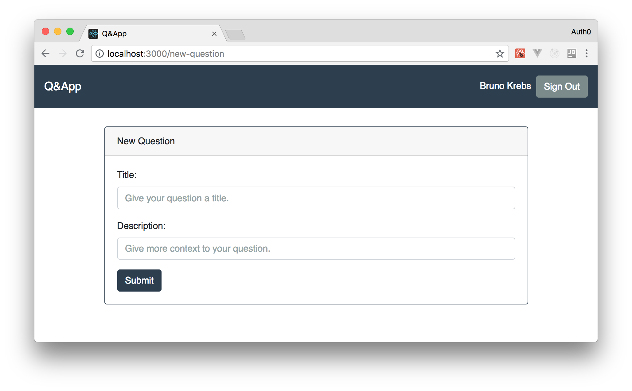 React Q&A app submit content via form secured by Auth0
