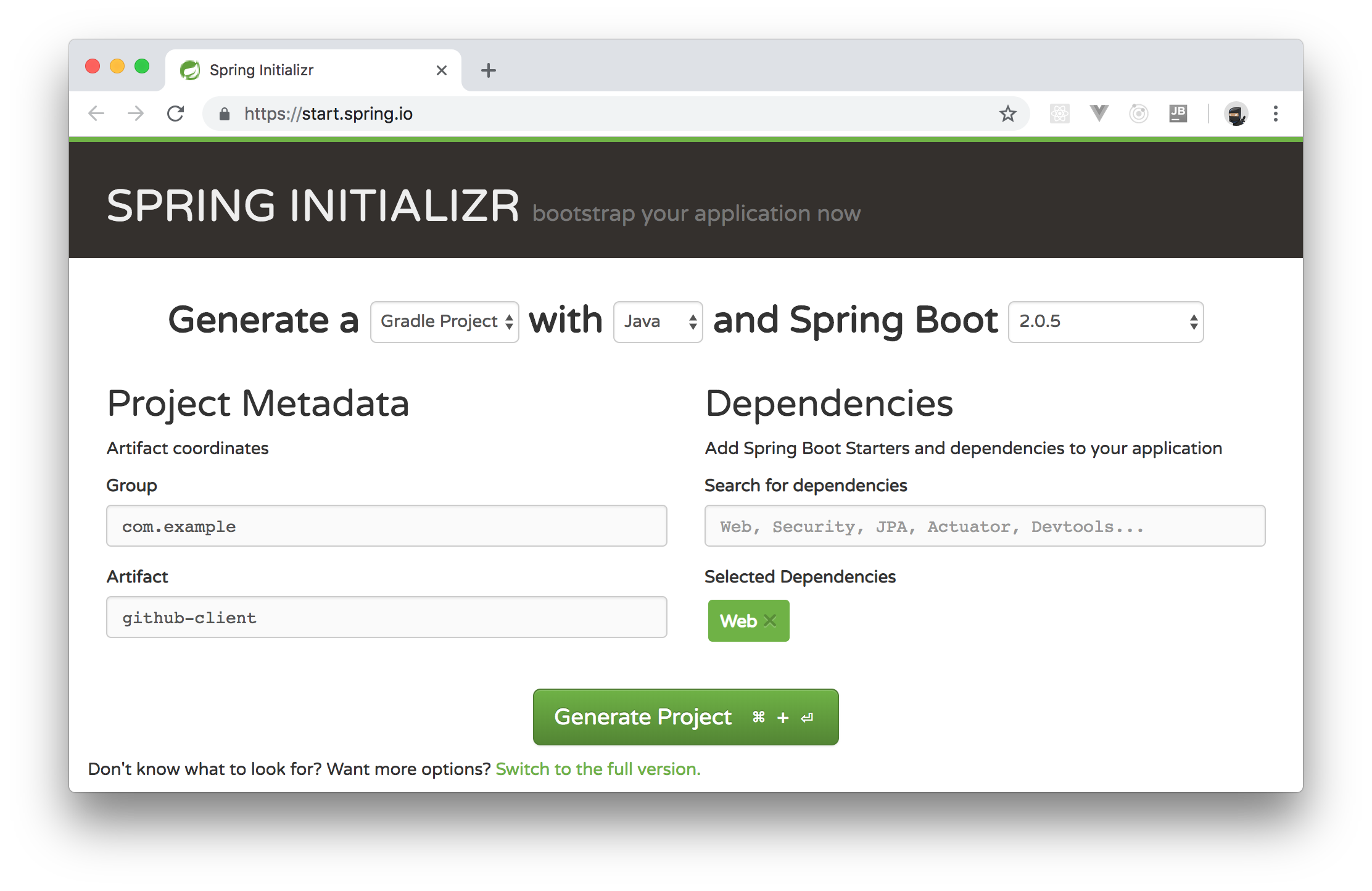 Generating a new JAVA Spring Boot project online