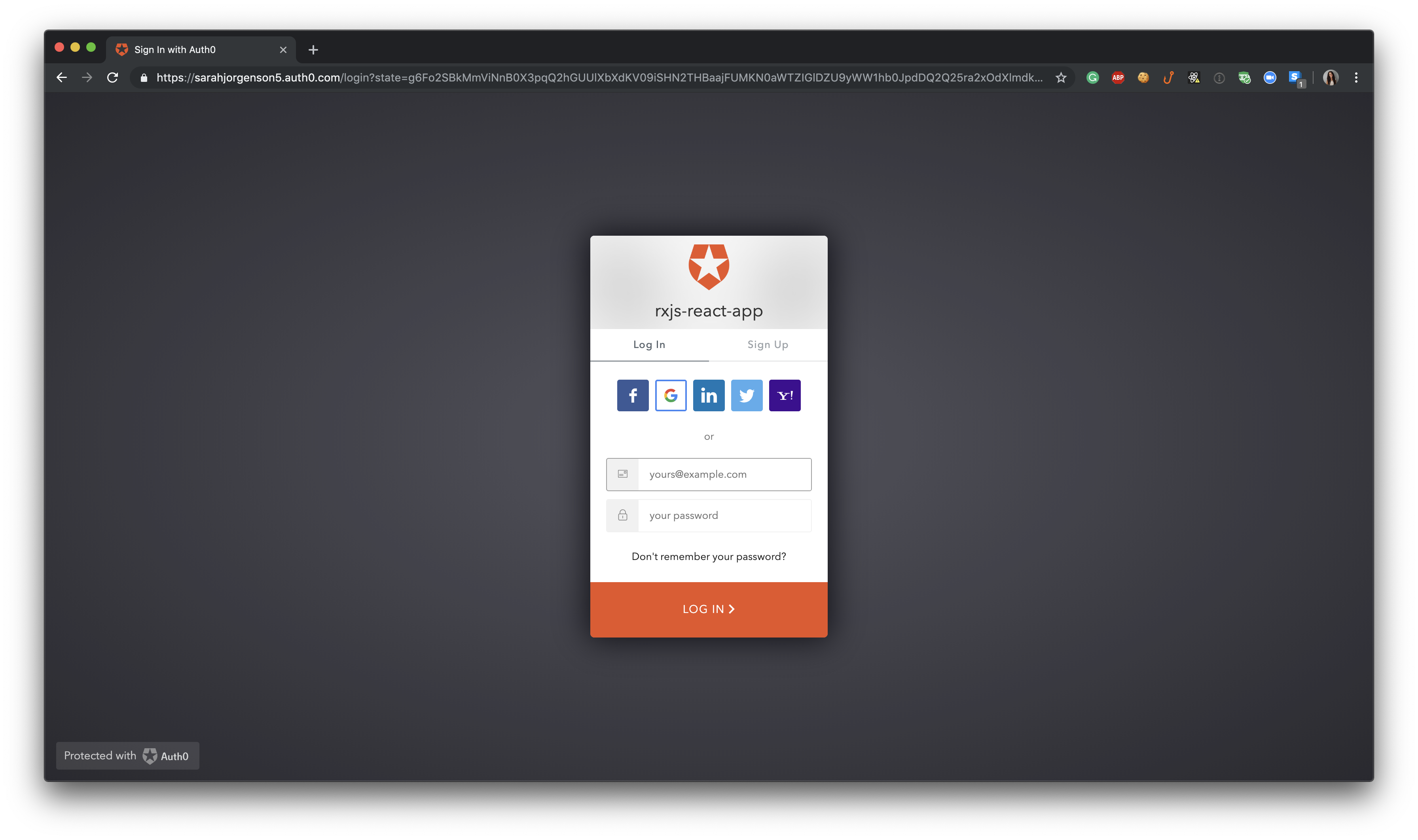 Application running locally - Auth0 Log In Modal