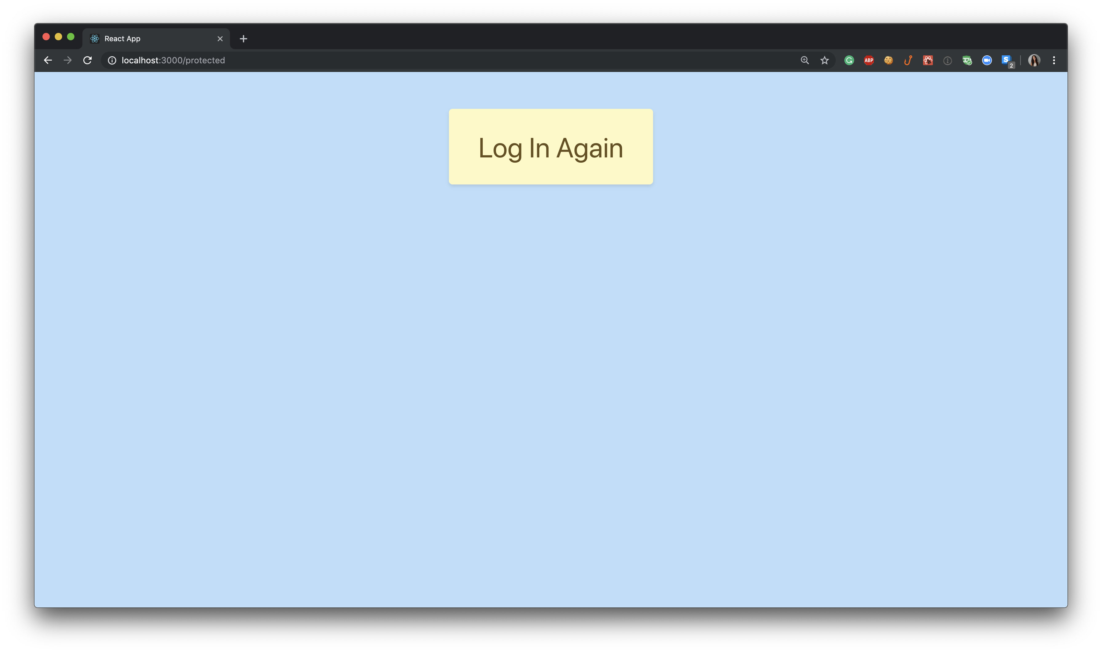 Application running locally - Auth Timeout Log In Again view