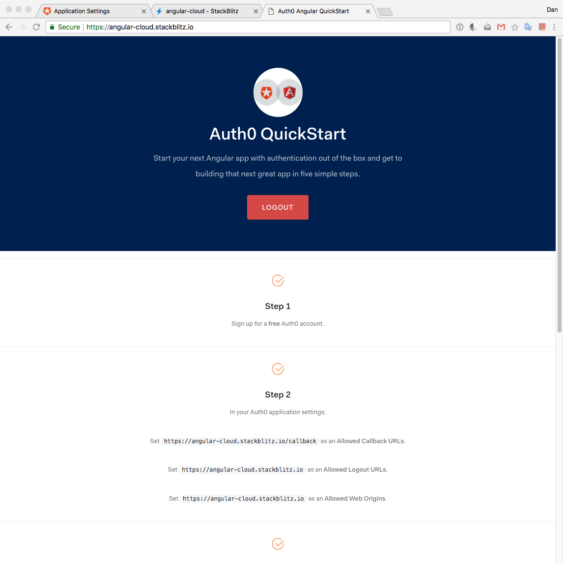 Angular app showing logged-in authenticated session