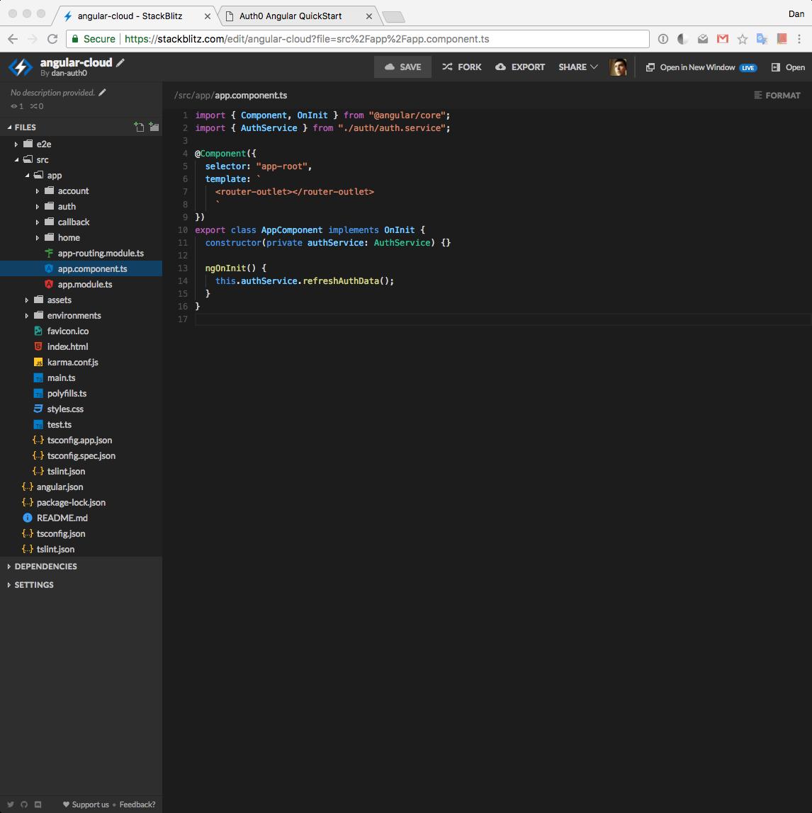 StackBlitz online code text editor view