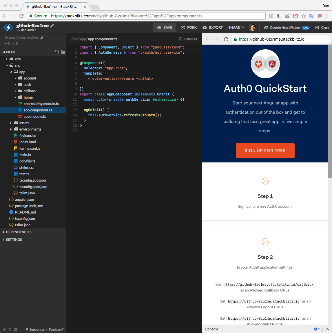Create Secure Angular Apps in the Cloud with StackBlitz and Auth0