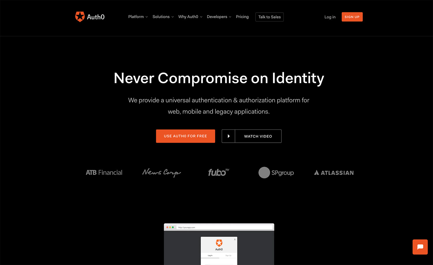 Screenshot of Auth0's homepage of website