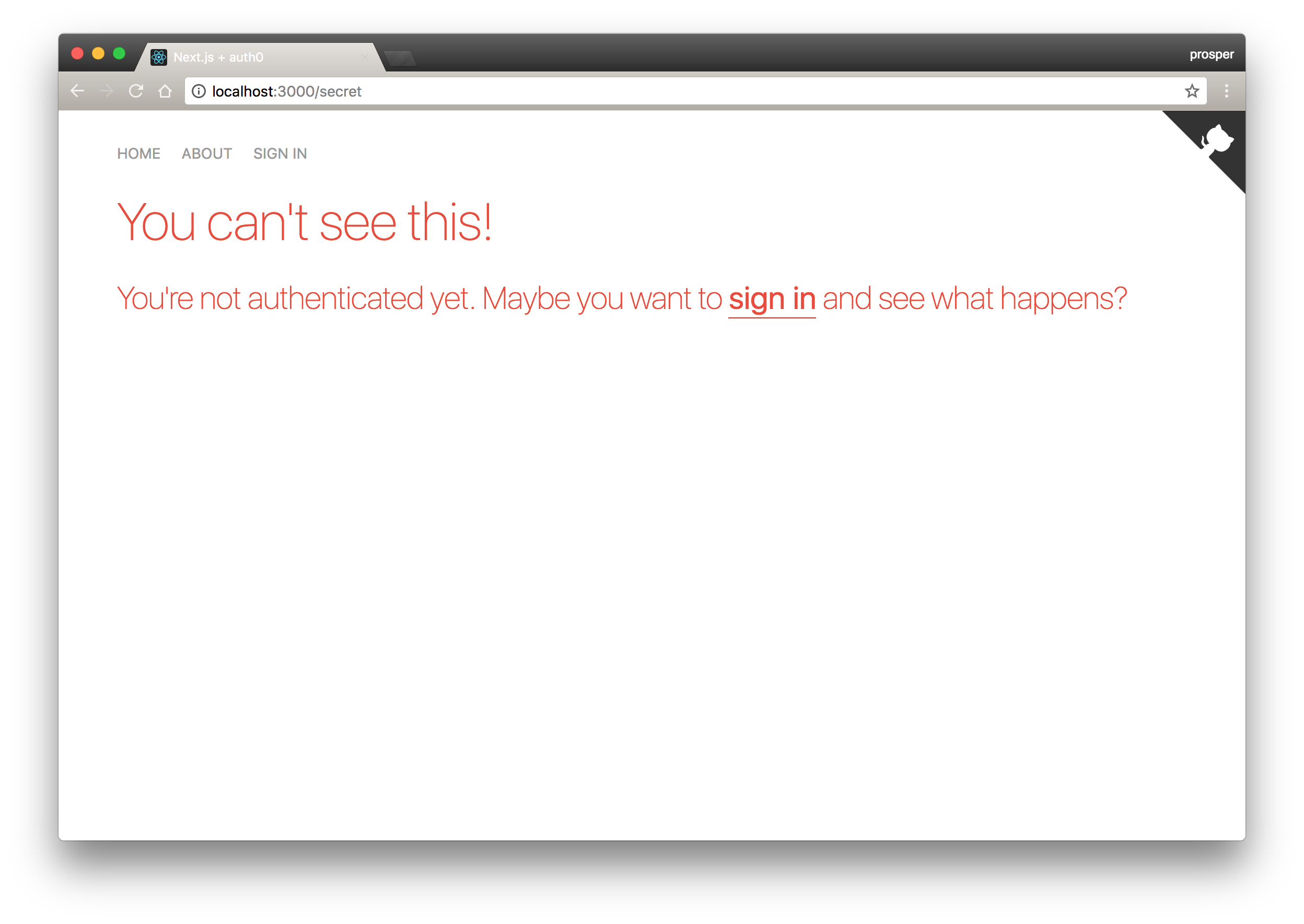 Auth0 secret page - gated content - unauthorized view