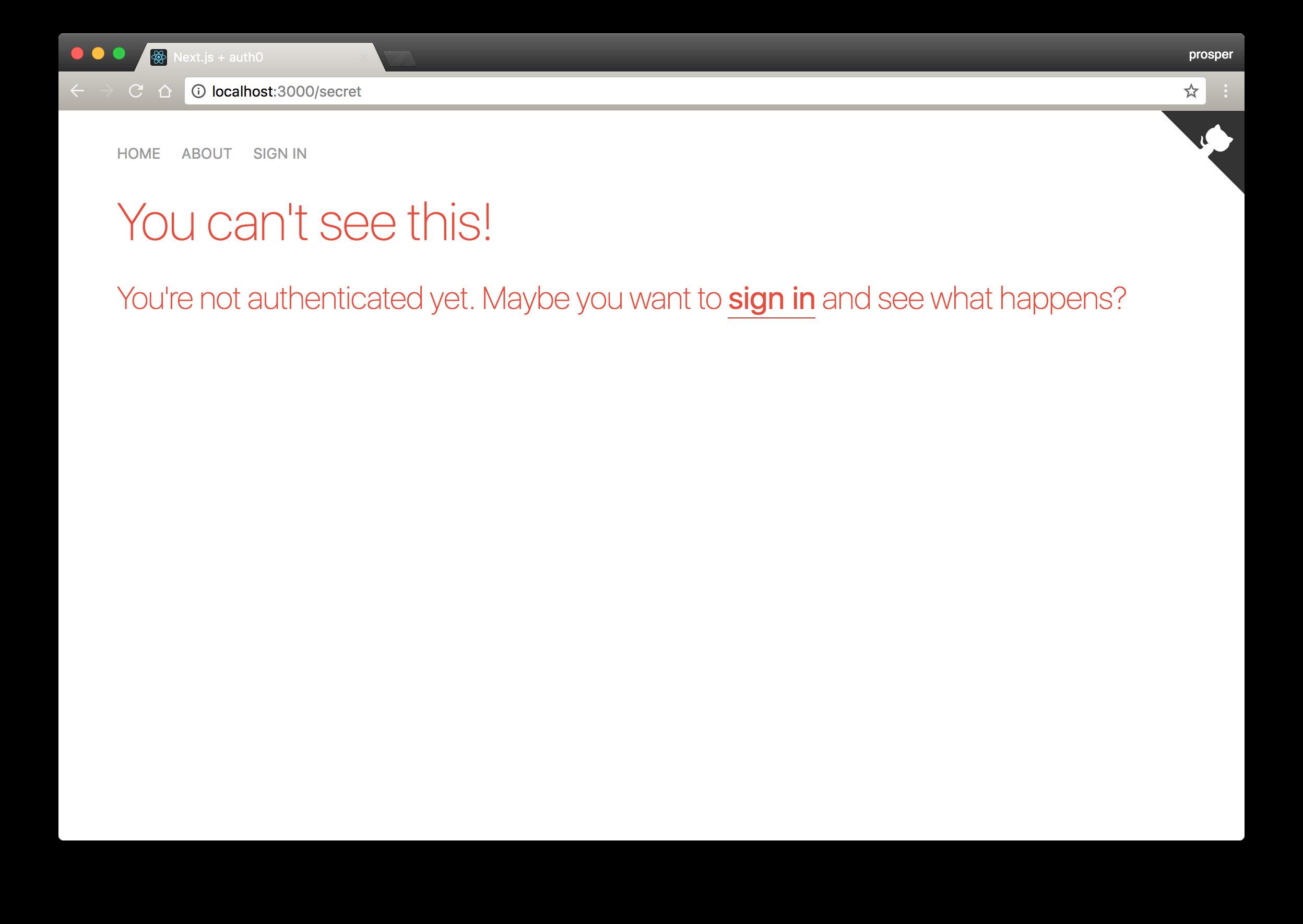 Secret page unauthorized