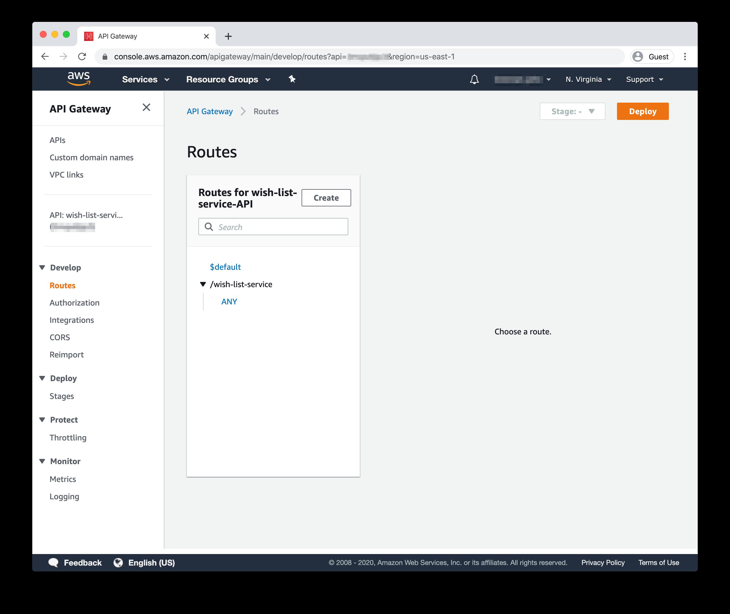 API Gateway Routes dashboard