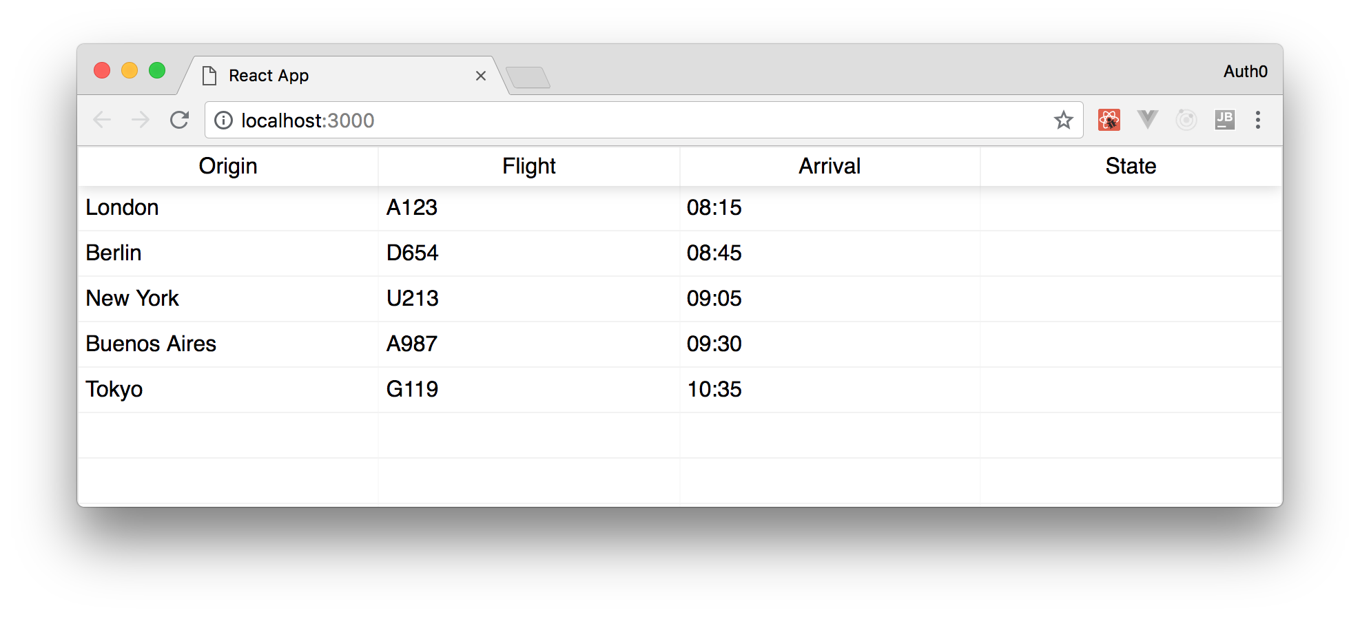 Locally running the real-time flight tracker web application.