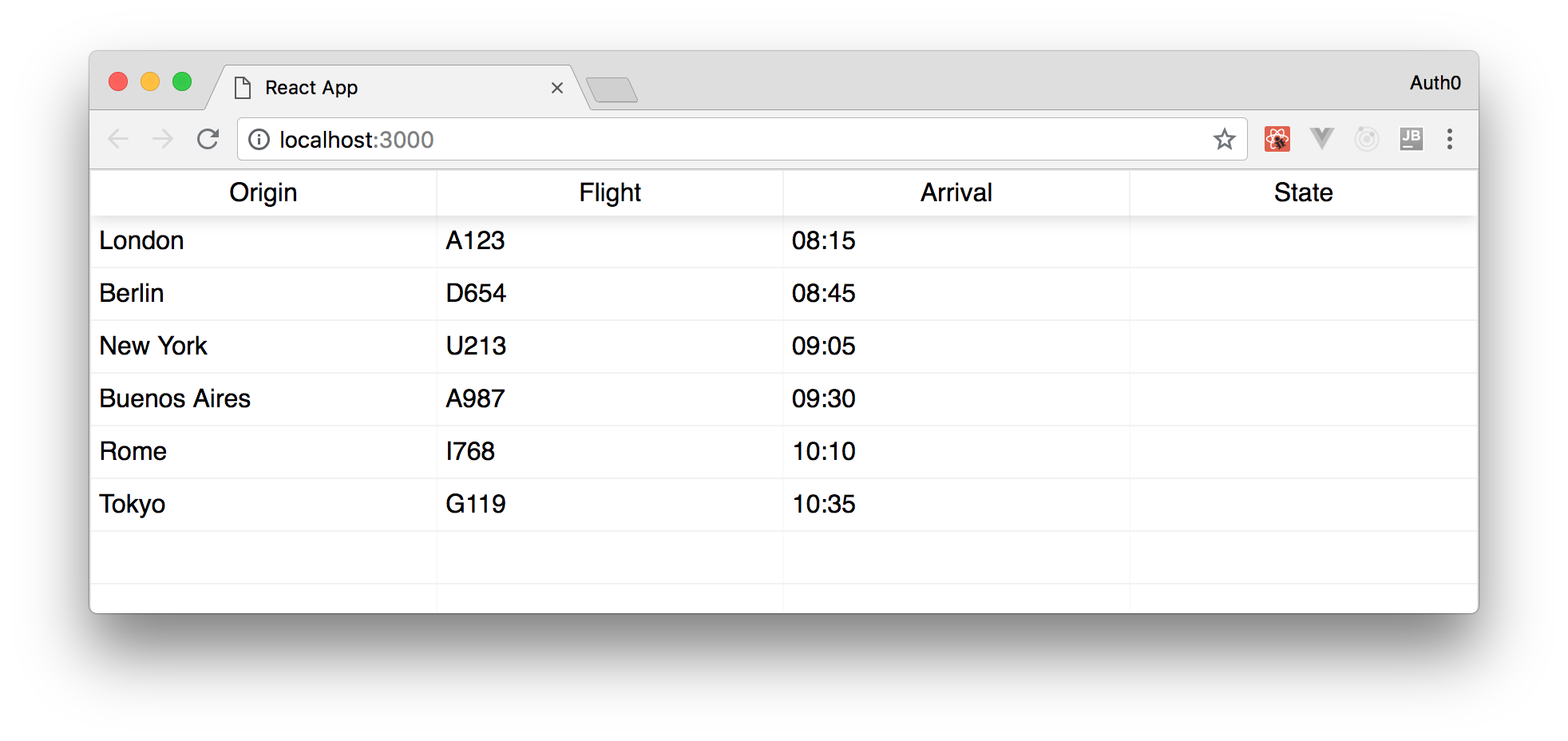Real-time flights tracker timetable