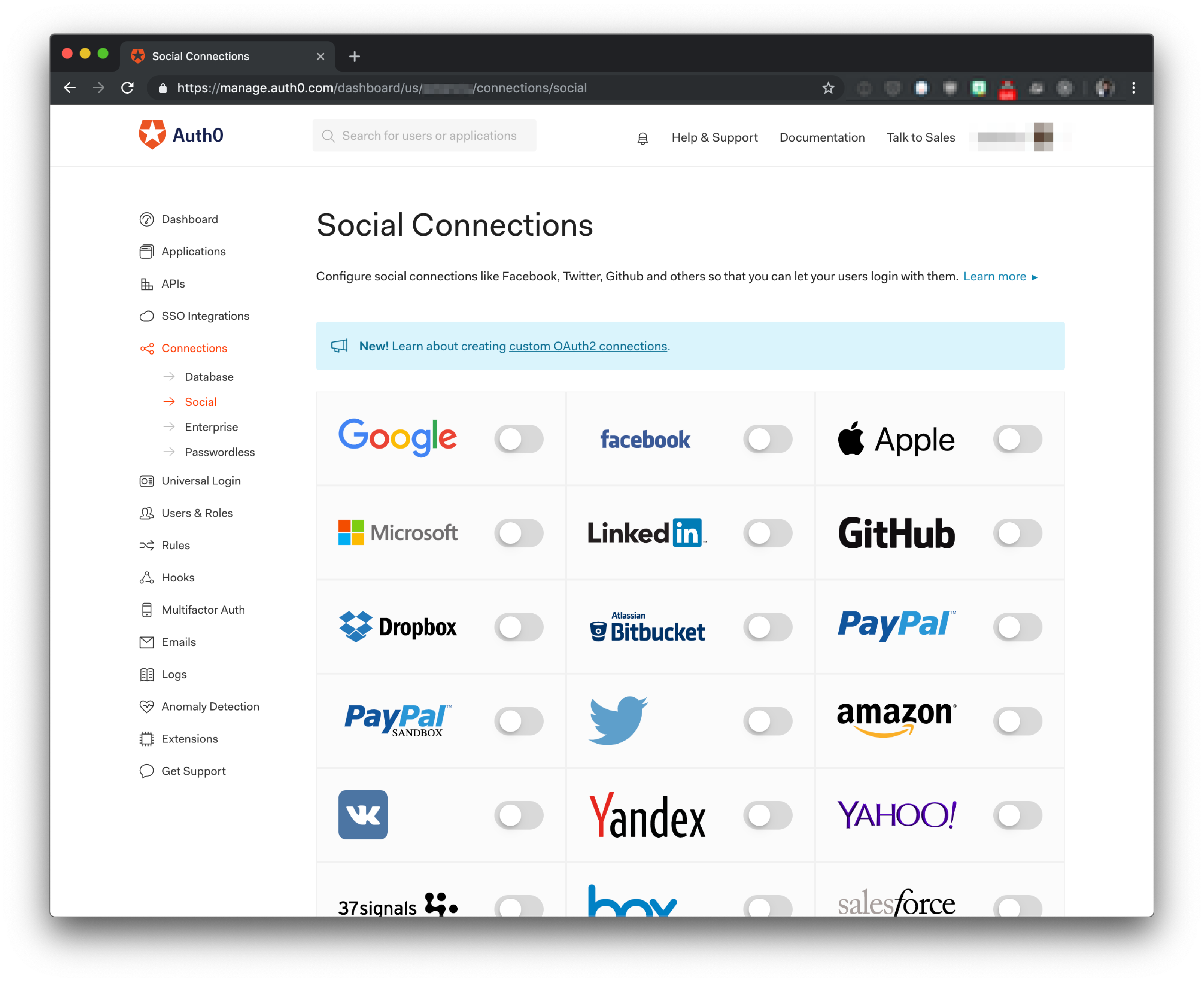 Auth0 Dashboard - Social Connections with Sign In with Apple included