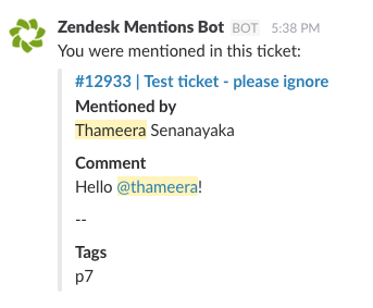 Slack mention in the Zendesk ticket