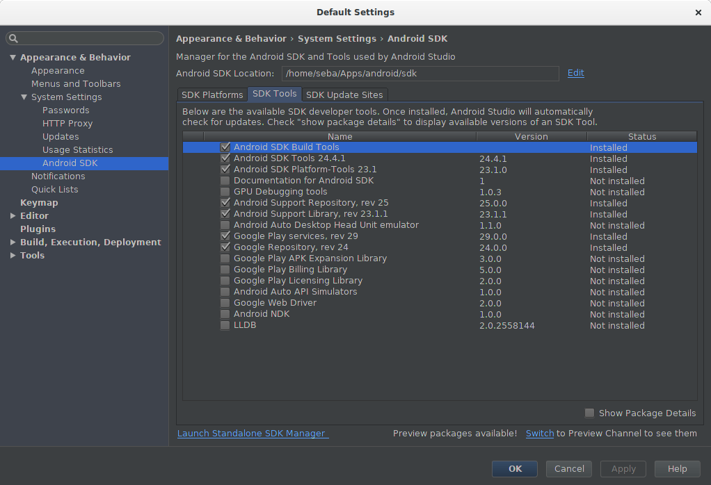 SDK manager: Google Play Services