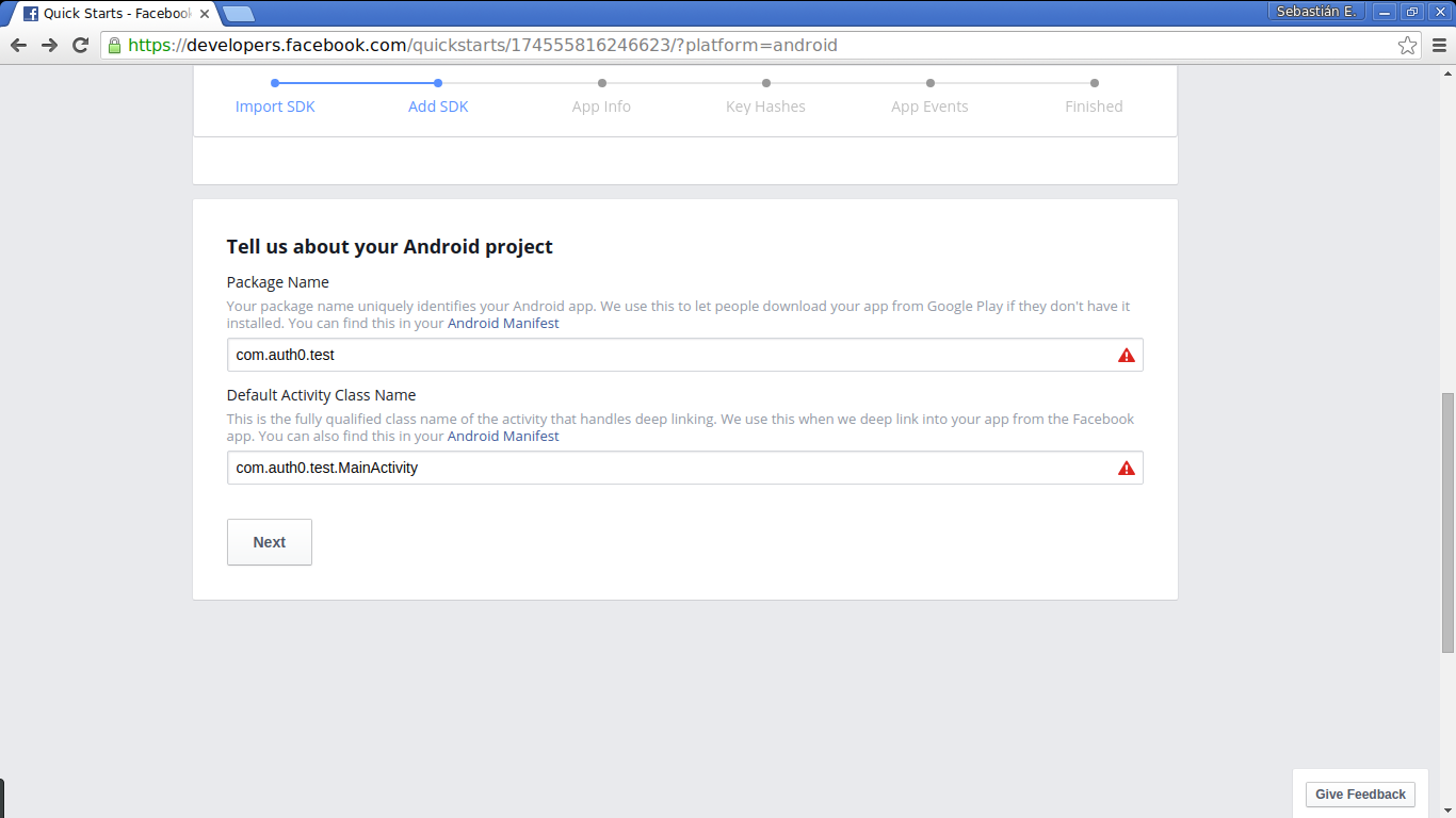 Facebook social login: setting app and activity names