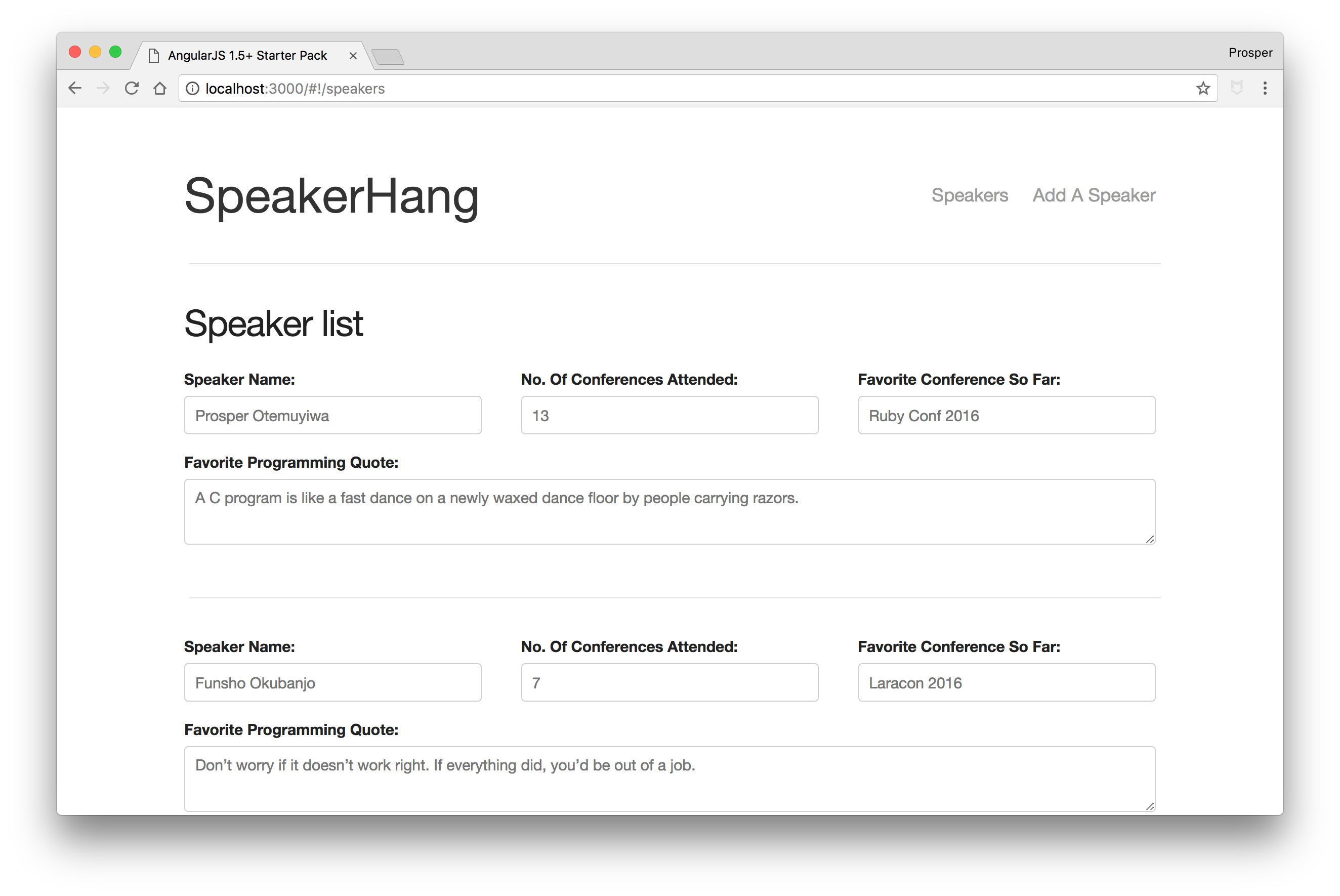 SpeakerHang - List of speakers