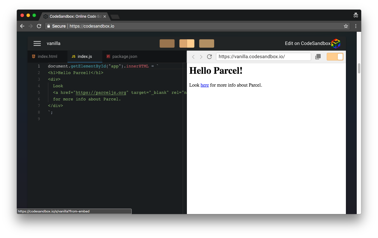 CodeSandbox JavaScript project preview
