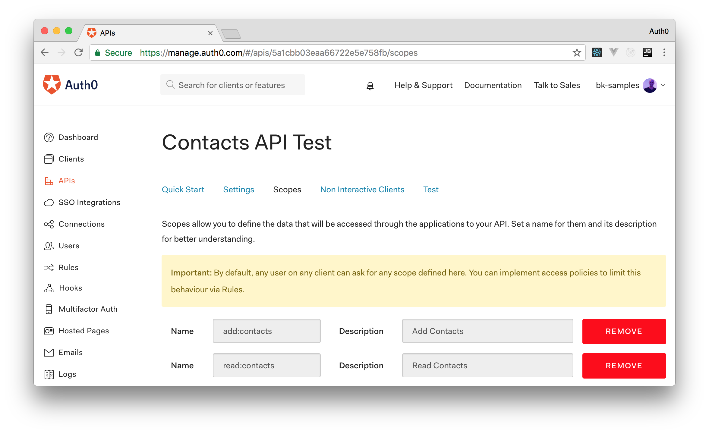 Defining OAuth scopes in the new Auth0 API