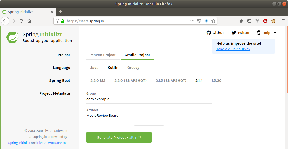 Spring Initializr Setting