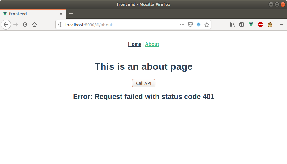 localhost unauthorized api access - request failed status 401 example