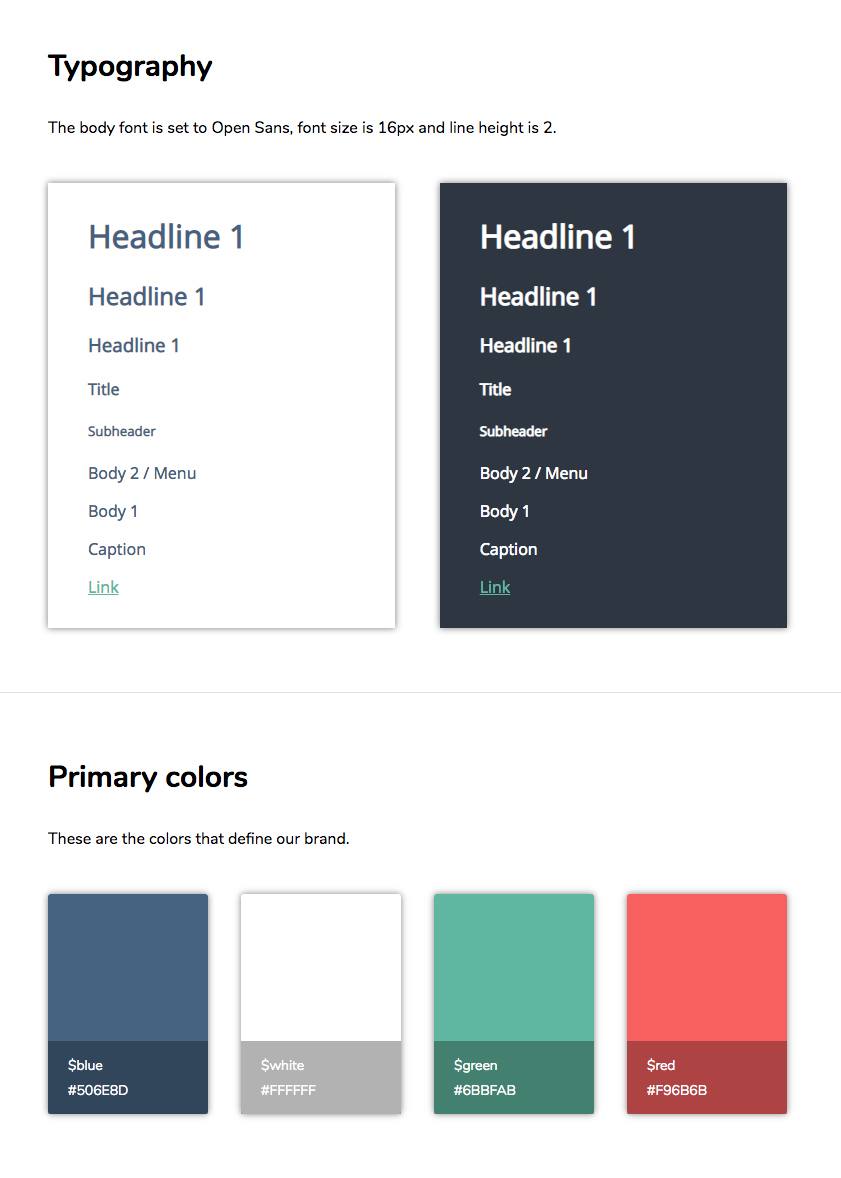 Style guide design - typography and color palette