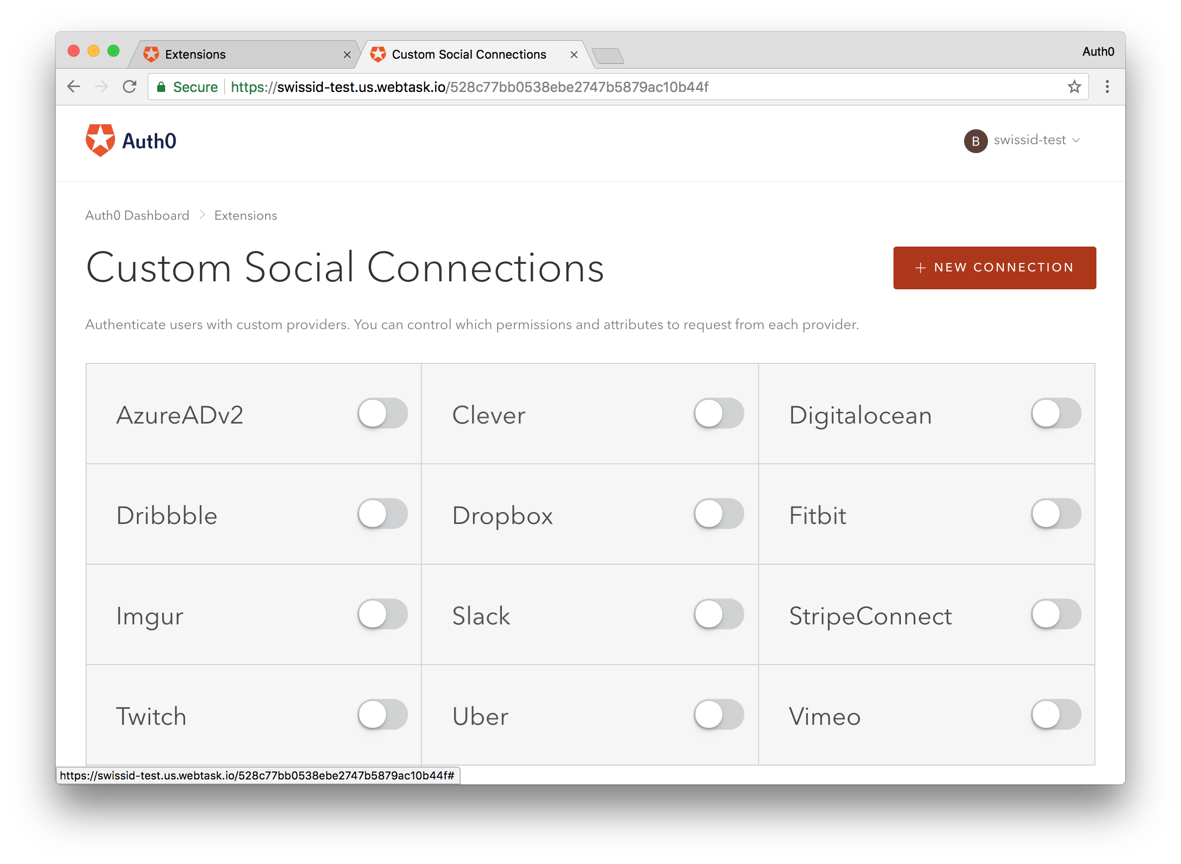 The Custom Social Connection extension' deployment