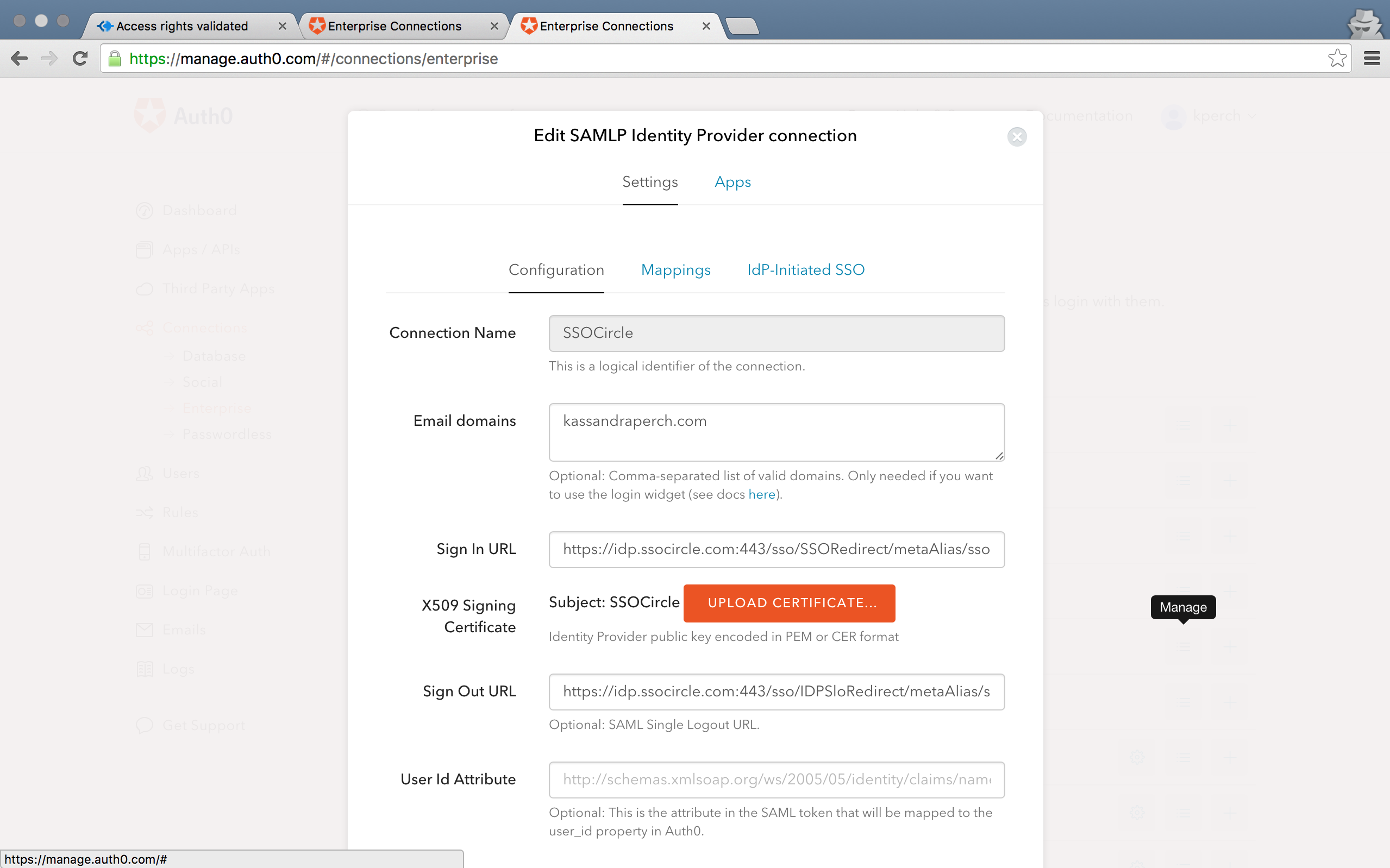 SAML Authentication Configuration Window