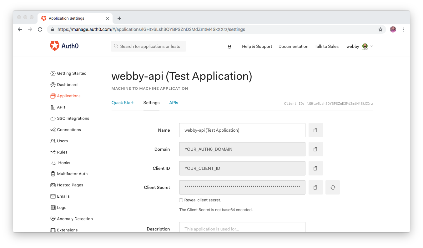 Checking the Auth0 Application created for your Auth0 API.