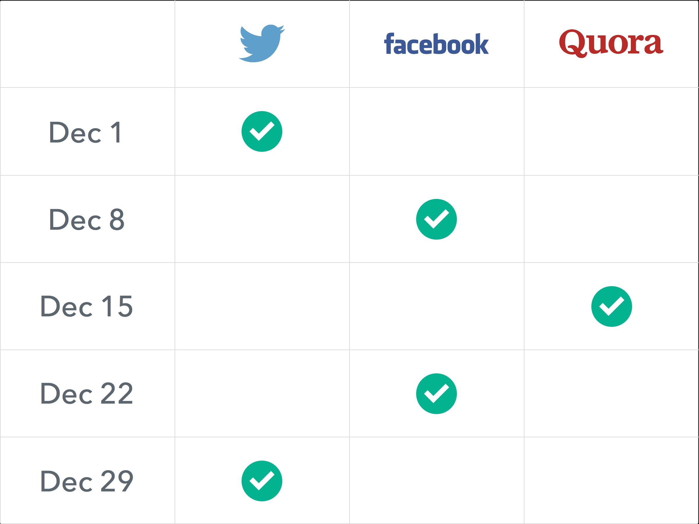 Social Networks Calendar