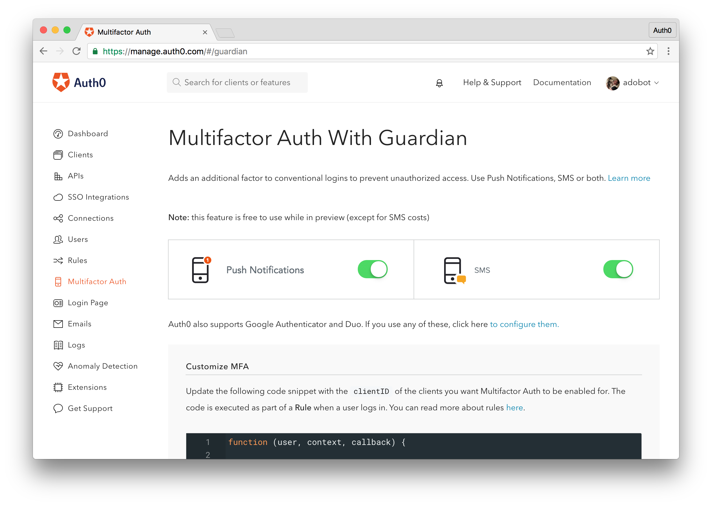Easily enable Auth0 Guardian from the Guardian dashboard