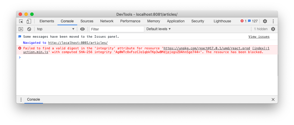 Invalid integrity hash value in Chrome console