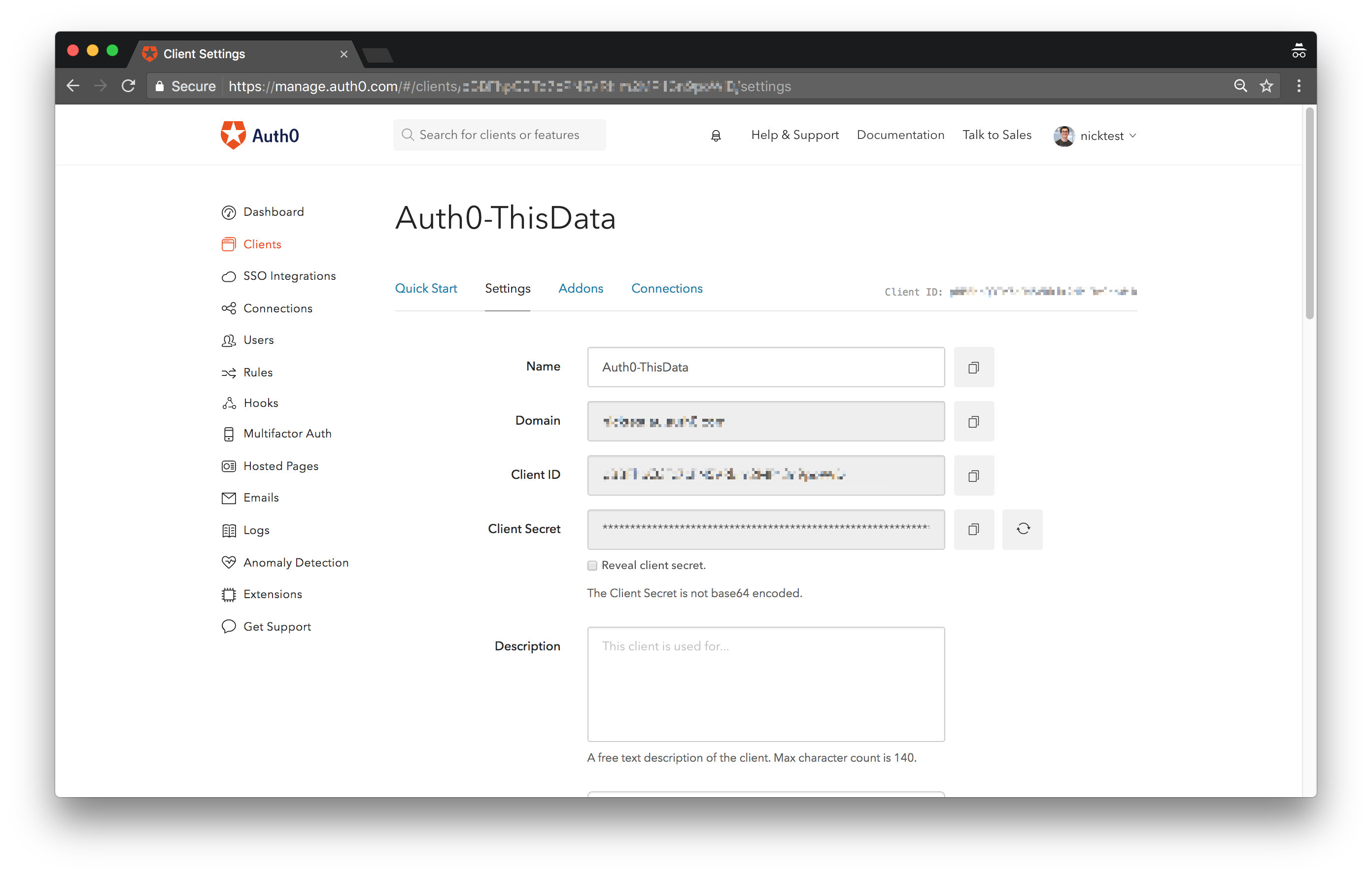 Set up an Auth0 app and grab client information