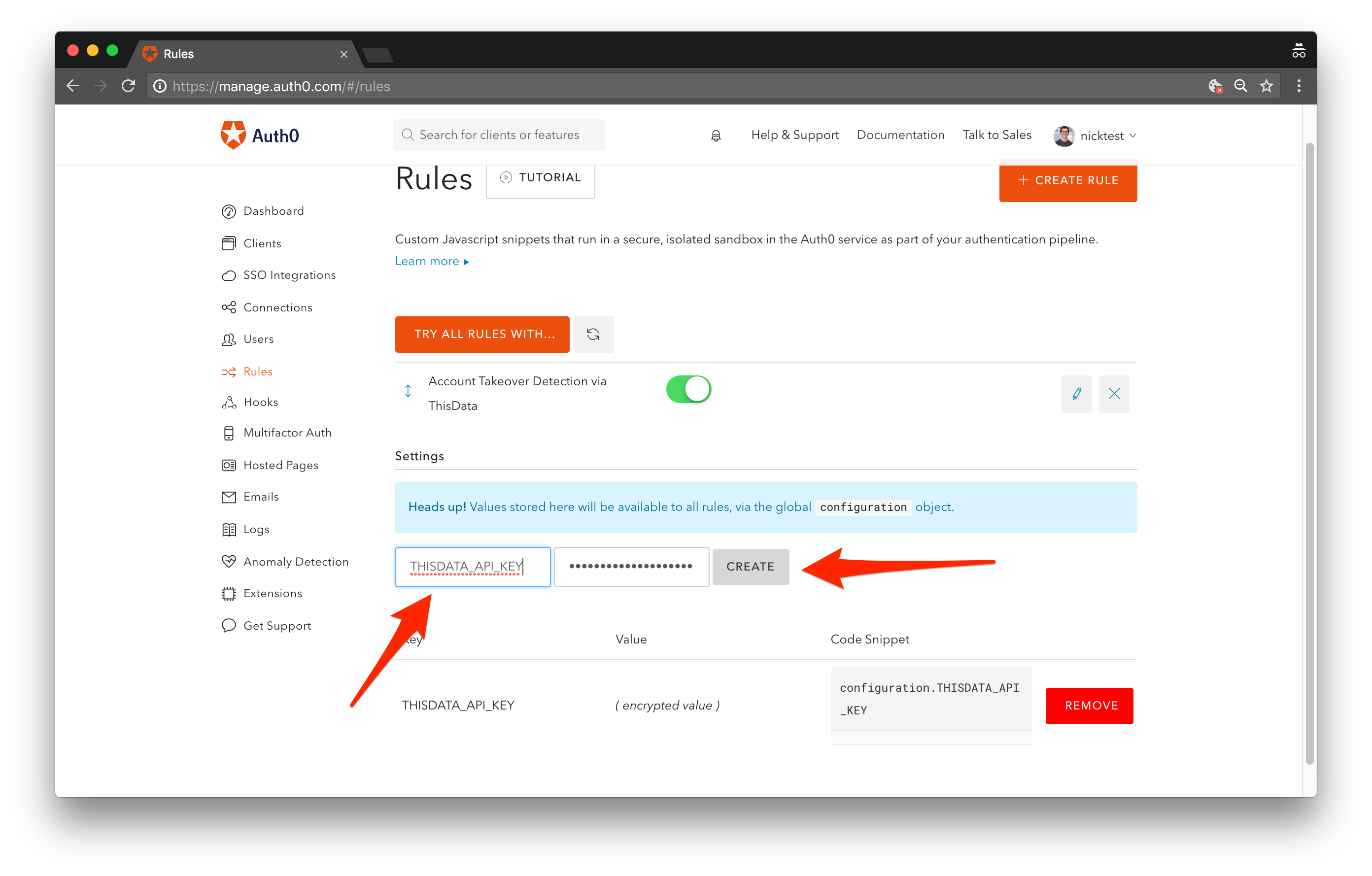 Paste ThisData API key into Auth0 rule settings