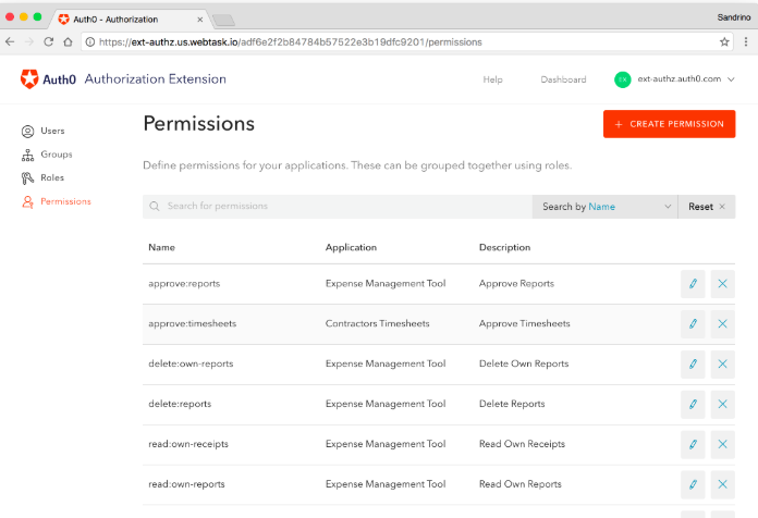 Auth0's user management dashboard